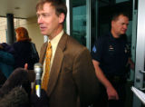 (DENVER, CO) April 30, 2004- Mayor John Hickenlooper speaks to the media after a heated discussion...