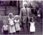 "Dwight ""Ike"" Eisenhower with neighborhood kids in front of Mamie's childhood home when..."