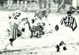 Denver Broncos safety Steve Foley (43) picks up a loose Green Bay funble on the first play of the...