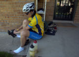 Stefanie Uhl (cq) prepares to ride with her husband, Thomas Schaefer (cq), on a brief workout...