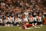 JPM0025 Kansas City Chiefs quarterback Trent Green gets up after being knocked down during an...