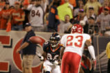 JPM0007 Denver Broncos wide receiver Rod Smith pulls in a pass against Kansas City Chiefs at...