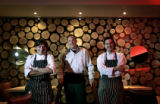 The Momo brothers, from left to right, Andrea Frizzi,cq, head chef, Venanzio Momo ,cq, and brother...