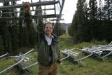 Davey Pitcher stands at the base of the Alberta lift at Wolf Creek Ski Area in Colorado Monday,...