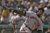 San Francisco's, Barry Bonds, during his second at bat during the Colorado Rockies finale home...
