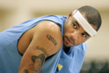 Denver Nuggets forward Kenyon Martin waits for a pickup game to start during an informal practice...
