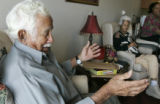 Harry Prampin, 80 (cq) explains how he lost everything sitting in his daughter's  Sonja Garnett...