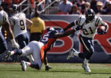 Denver Broncos linebacker D.J. Williams grabs but misses a tackle against San Diego Chargers...