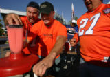 Dave Warren, cq, 50, of Loveland, left, and Eric Boivin, cq, 32 of Arvada rev-up the...