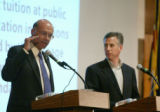 Representative Bernie Buescher (D-Grand Junction), left, argues the merits of Referenda C and D as...
