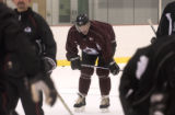 (CENTER) Colorado Avalanche Pierre Turgeon number 87, during Avalanche practice at the Family Fun...