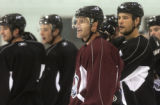 (FOREGROUND CENTER) Colorado Avalanche Pierre Turgeon number 87, during Avalanche practice at the...