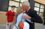 Colorado Springs, Colo.-07/07/2004- Pete Coors , a Republican candidate for the U.S. Senate, gets...
