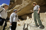 Mesa Verde National Park Ranger Tammi Corchero (cq, far right) talks with Heather Ficke (cq, far...