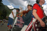 "07/04/2004 Aspen, Colorado-Members of the band ""Friendly Dictators,"" perform on the Rock..."