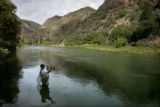 Donovan Talbott (cq) of Palisade fly fishes near the East Portal just outside the boundaries of...