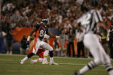 Denver Broncos tight end Wesley Duke misses a pass from quarterback Jake Plummer in front of...