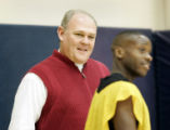 Denver Nuggets head coach George Karl watches over an informal practice at the Nuggets' practice...