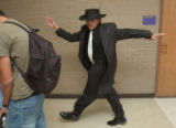 (DENVER, Colo., April 15, 2004) Elvis Nunez takes off in character in his newly fitted Zoot Suit....