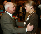 G. Marvin Beeman greets Melanie Taylor (won a gold medal as Melanie Smith on the anchor horse,...