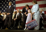 (DENVER, CO. JULY 23, 2004)  Vice presidential candidate John Edwards comforts his daughter Emma,...