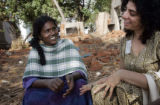 (1/18/05, Kaalapet, India)   Anita talks with Zenia Tata with a smile on her face about her niece...