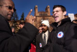 (Boulder, Colo., February 1, 2005) CU history professor Eric Love, of Denver, left, makes a point...
