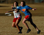 (GREENWOOD VILLAGE, CO., JANUARY 20, 2005)    Elin Franzen, 18, (cq) right, a senior, knocks down...