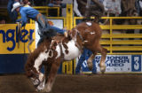 Denver, Colo., photo taken January 23, 2004-Bryce  Miller, of Kaycee,WY., gets bucked for a no...