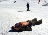 (Arapahoe Basin Colo., January 20, 2005) Drew Landenburger soaks up some sun on the area of the...