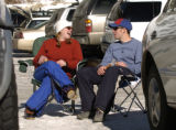 (Arapahoe Basin Colo., January 20, 2005) Lindsay Brown (Denver) and Jacob Wilcox (Arvada) , left...