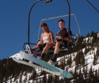 (Arapahoe Basin Colo., January 20, 2005)  Miss Ren Renken and Davin Rockstad , left to right, ride...