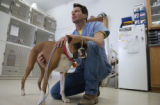 (FOWLER, Colo, January 24, 2004) Dr. Richard Leone, D.V.M. owner of  Peak View Animal Clinic in...