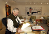 [VAIL, CO - Shot on: 1/19/05] Kent Logan works in his office on the fourth floor of the art...