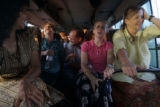 (1/26/05, Pondicherry, India)  The medical team rides the bus from their half day clinic at a...