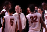 [Denver , CO - Shot on: 1/21/05-University of Denver head coach,Terry Carroll, during a time out...