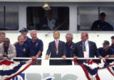 [BOSTON, Mass., shot on: 7/28/04)  Democratic presidential candidate John Kerry, accompanied by...