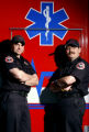 (Littleton, Colo., photo taken 2/10/2005) Littleton Fire Department paramedic firefighters Eric...