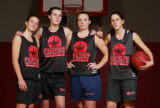 Fairview girls varsity players, left to right:  Jordan Puckett, Anne Litsey, Chelsea Moore, and...