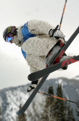 (Aspen, Colo., January 30, 2005) Peter Olenick catches air during the finals for Mens Skiing...