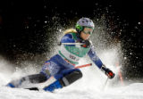 (BORMIO, Italy - Shot 2/13/2005) U.S. skiier and Vail native Sarah Schleper kicks up a spray of...