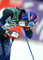(BORMIO, Italy - Shot 2/1/2005) Bode Miller (#29) catches his breath in the finish area after and...