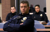 (Denver, COLO.  February 17, 2005) Denver Police Officers Jay Smith (front) and officers (L-R...