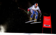 (BORMIO, Italy - Shot 2/3/2005) Slovakian skiier Jaroslav Babusiak flies off the last jump on his...