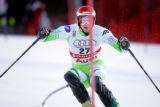 (BORMIO, Italy - Shot 2/3/2005) Andrej Jerman of Slovenia looks to set up for his next turn during...
