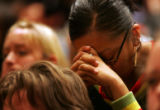 (02/03/2005 Aurora, Colorado) CU student Eileen Shendo, a supporter of Ward Churchill, reacts to...