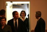 (02/03/2005 Aurora, Colorado) CU board of regents chairman Jerry Rutledge and president Betsy...