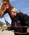 FOR STOCK SHOW - Brittney Holland (cq), 14, of Aledo readies Tee, her horse, Friday morning,...