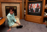 (Longmont, CO., February 2, 2005) Mindy Brooks watches President Bush deliver the State of the...