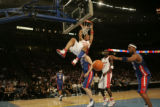 (DENVER, COLO.,  FEBRUARY 20, 2005) Eastern All-Star, Shawn Marion, makes a power dunk in the...